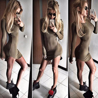 Autumn 2016 fashion sexy Bottom dress tight solid color long sleeves mini short women dress