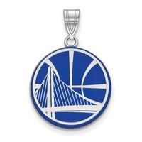 NBA Golden State Warriors Large Logo Pendant in Sterling Silver