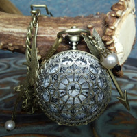 Hunger Games inspired Men's pocket watch pendant with arrow and mockingjay charms and  pearls