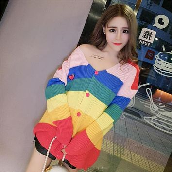 DoreenBow New Fashion Women Autumn Rainbow Sweater Cardigans Female Girls Casual Chic Streetwear Knitted Sweaters V Neck