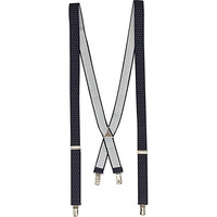 River Island MensNavy spotted suspenders