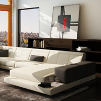 Edge Moderna White  and Grey Bonded Leather Sectional Sofa