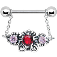 925 Silver Sophisticated Symmetry Red Pink CZ Silver Nipple Ring   Body Candy Body Jewelry
