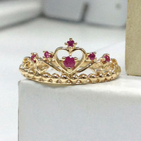 Ruby Crown Wedding Ring 14K Yellow Gold,Prong Set Round Cut Red Gemstone,Engagement ring,Anniversary Fine Ring,Fashion,Bridal Ring,Promise