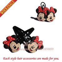 New Mickey Cartoon Hair Clip+Hair Band 2Pairs Kids hairpins Hair Accessories for kids gifts