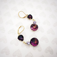 Amethyst Jewelry - Heart Earrings - Gold Dangle - Valentines Jewelry - Wedding Jewelry - Round Drop - Long Purple - Stainless Jewelry