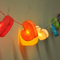 Colorful mulberry paper Heart Lanterns for wedding party & decoration (20 bulbs)