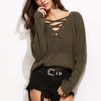 Brown Eyelet Lace Up V Neck Sweater