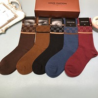 LV A box of five pairs of new medium and short socks
