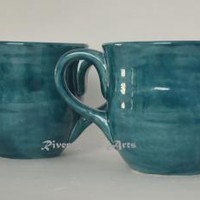 Large Peacock Blue Ceramic Mug Set (2)
