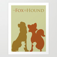 The Fox and The Hound Art Print by Citron Vert