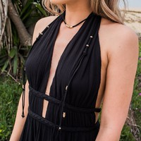 Hair Down Wrap Choker Necklace In Black