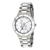 Los Angeles Dodgers Ladies Quartz Analog Watch With Silver Round Case Silver Bracelet 35.9Mm Pearl