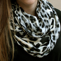 Warm and Cozy Leopard Infinity Loop Scarf Double Loop Eternity Winter Tube Scarf Cream Black and Grey Scarf Cute Womens Teen Holiday Gift