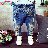 Keelorn Boys jeans Children Broken Hole Pants Trousers 2017 Autumn Brand Baby Boys Girls Jeans 2-7Y kids clothes baby girl jeans