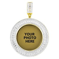 Gold Tone Icy Baguette Round Picture Memory Custom Pendant