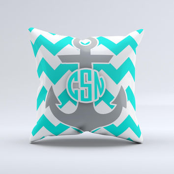 Teal Green and Gray Monogram Anchor on Teal Chevron  Ink-Fuzed Decorative Throw Pillow