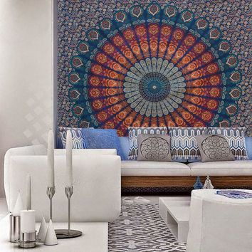 Indian Elephant Mandala Tapestry Hippie Wall Hanging Tapestries Beach Throw Towel Gypsy Bed Sheet Home Decor 145*145cm