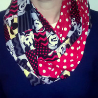 Mickey Minnie Mouse Infinity Scarf - Cotton Cowl - Red White Polka Dots - Disney Chevron Circle Scarf