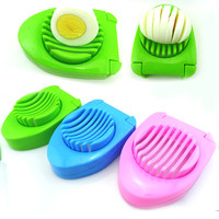 New Muti-Function Plastic and Stainless Steel Kitchen Boiled Egg Slicer Sectioner Cutter Random Color