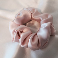 Pure Silk Hair Scrunchie, Light Pink Charmeuse, Small, Regular, and Large Sizes