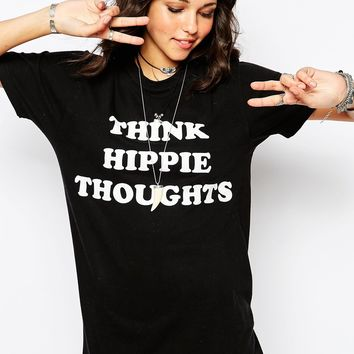 Milk It Vintage Oversized Boyfriend T-Shirt With Hippie Thoughts Festival Print
