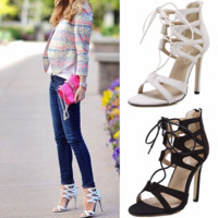 Trendy Lace Sandal Party High Heels
