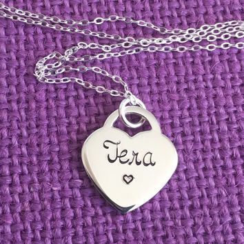 Name Necklace - Lock Heart - Sterling Silver necklace - Hand stamped Jewelry- Name - Heart - Personalized