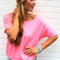 Alyssa Basic Pink Scoopneck Sweater Tee