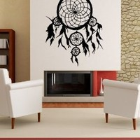 """Stickerbrand© American Indian Vinyl Wall Art Dream Catcher Wall Decal Sticker - Multiple Colors Available, 36"""" x 28"""". Easy to Apply & Removable."""