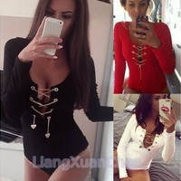 Women Bodycon Jumpsuit Deep V Rompers Sexy Long Sleeve Leotard Pants New [8805176007]