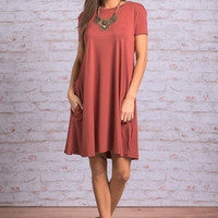 Always Have You Piko Dress, Rust
