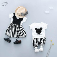 KINE PANDA Twins Sister Brother Toddler Kids Baby Girl Boy Clothes t shirt + shorts pants or tshirt + girls dress 0-1-2-3Y