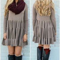 Weekend Traveler Mocha Multi Tiered Sweater Dress