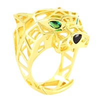 Sterling Silver Green Ruby Plain Panther Men's Ring