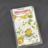 Vintage Pair Cannon Monticello Standard Pillowcases, Yellow Flowers, Butterfly Pattern, Butterflies, Floral Print, Bedding, Linens, Fabric