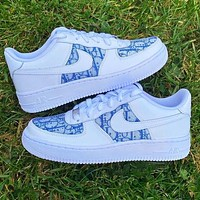 Onewel Nike Air Force 1 x Dior Print Contrast Shoes Trending Shoes White+Blue