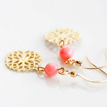 Coral Peach Floral Earrings Pink Orange Faceted Beads Round Flower Earrings Sunset Peach Jewelry - E227