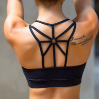 Summer Trending Women Sexy Bra Underwear Back Cross Yoga Gym Running Fitness Underwear Bra Sports Bra Black