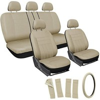 OxGord 17pc Set Flat Cloth Mesh / Solid Tan, Beige Auto Seat Covers Set - Airbag Compatible - Front Low Back Buckets - 50/50 or 60/40 Rear Split Bench - 5 Head Rests - Universal Fit for Car, Truck, Suv, or Van - FREE Steering Wheel Cover