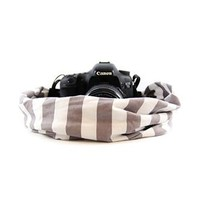 Grey Stripe Scarf Camera Strap Capturing Couture - CASCARF-STGY