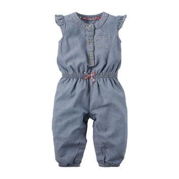 Carter's® Chambray Jumpsuit - Baby Girls Newborn-24m - JCPenney