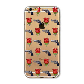 Facebook Guns & Roses Emoji Collage Painted Soft TPU Silicon Cases CoverCase For Apple iPhone 4 4S 5 5S SE 5C 6 6S 6 Plus 6S Plus