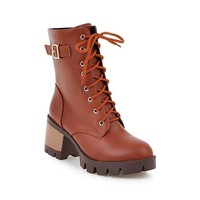 Round Toe Platform Low Chunky Heels Lace Up Short Boots