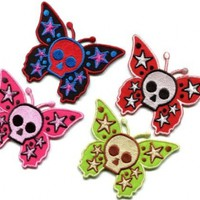 Lot of 4 Butterfly Skull Horror Goth Tattoo Punk Boho Appliques Iron-on Patches Handmade Fast Shipping with Special Gift