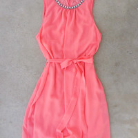 Meadow Grass Party Dress in Coral