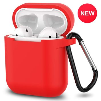 New AirPods Case, 360°Protective Silicone AirPods Accessories Kit Compatable with Apple AirPods 1st/2nd Charging Case [Not for Wireless Charging Case] - Red