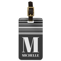 BW Uneven Stripes Tab AFF Monogrammed Bag Tag