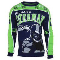 Seattle Seahawks Richard Sherman #25 Official NFL Player Ugly Sweater