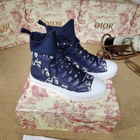 Dior  Trending Men Women Black Leather Side Zip Lace-up Ankle Boots Shoes High Boots